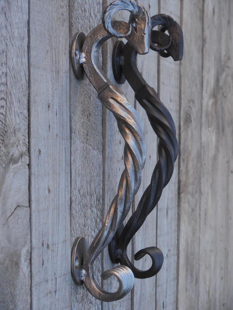 Iron Door Pull Barn Door Pull Steel Pull Handle Ram S Etsy In 2020 Sliding Door Handles Door Handles Iron Doors
