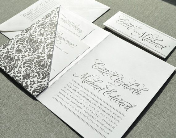 wedding invites - pocketfolders with damask - modern