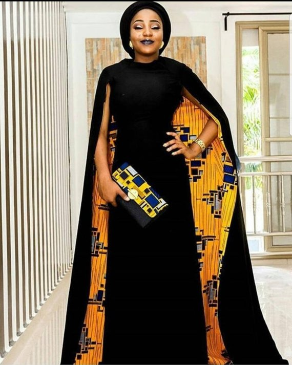 African prom dress with cape,long black African pr