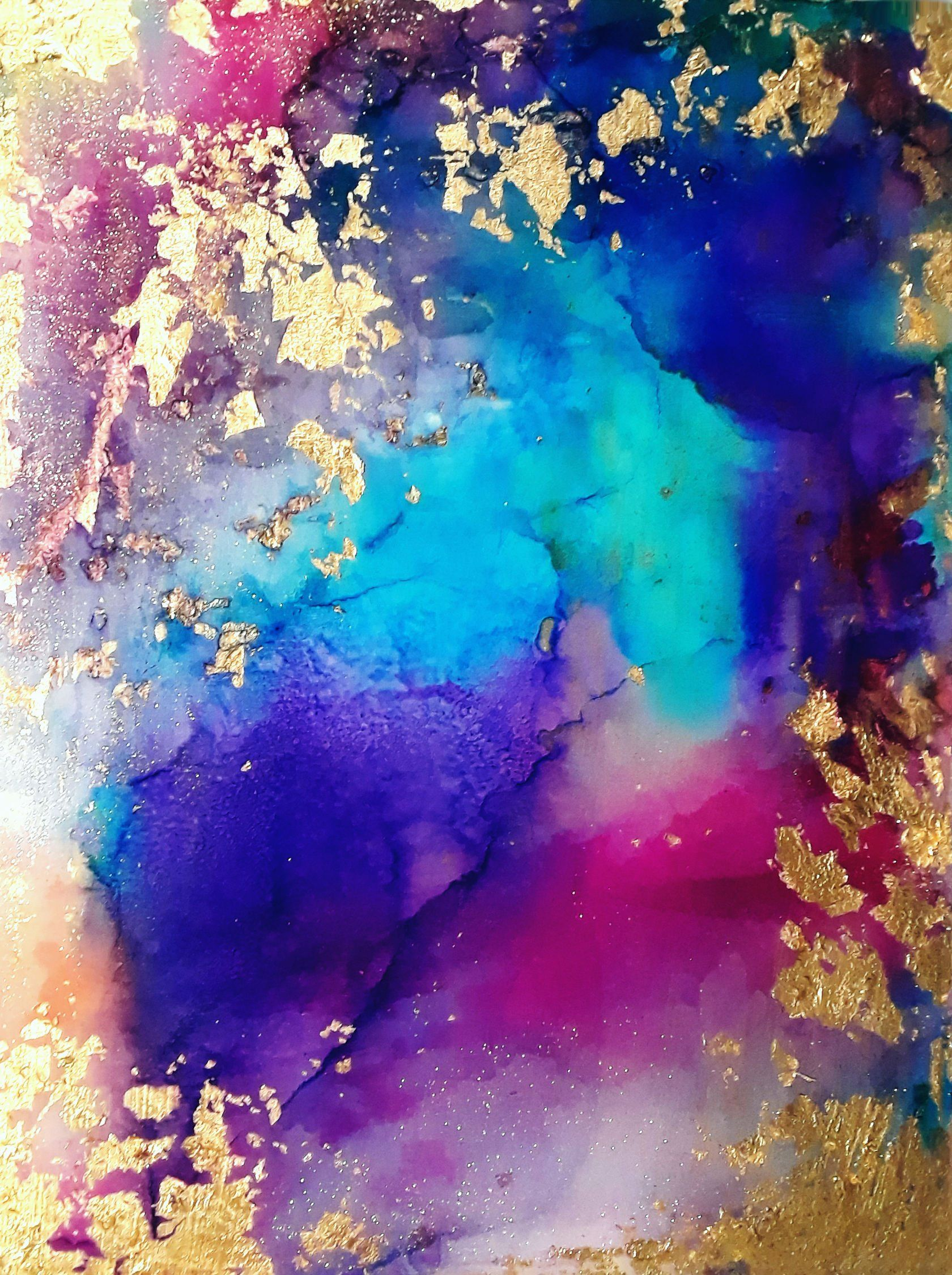 Abstract resin and ink painting resin art jewel tones