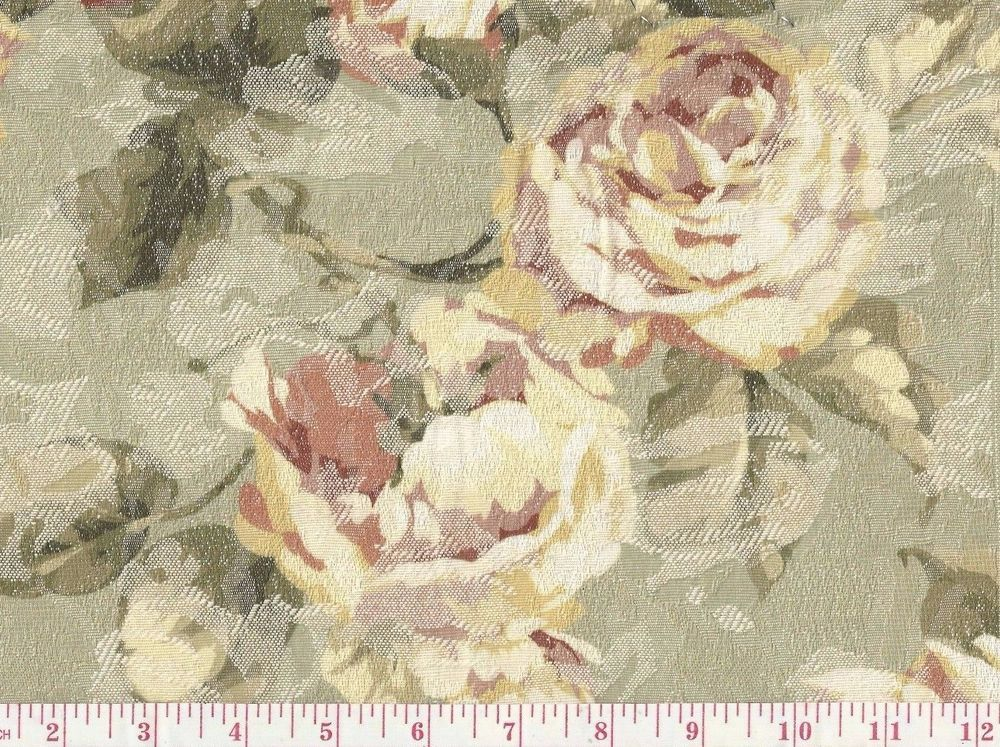 Broyhill Green Pink Vintage Inspired Rose Fl Jacquard Upholstery Fabric
