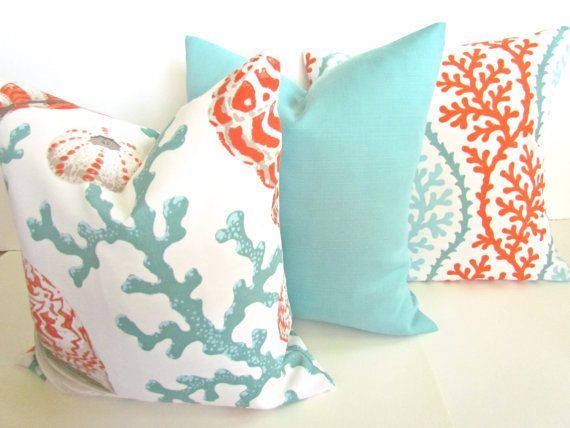 THROW PILLOWS 18x18 CORAL Throw Pillow Covers Orange Coral 18 X 18 Aqua  Mint Green Decorative
