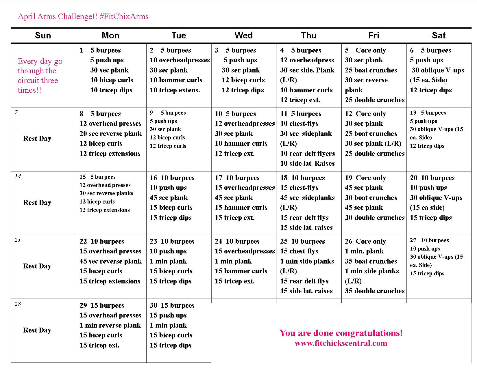 30 day arm challenge printable pdf
