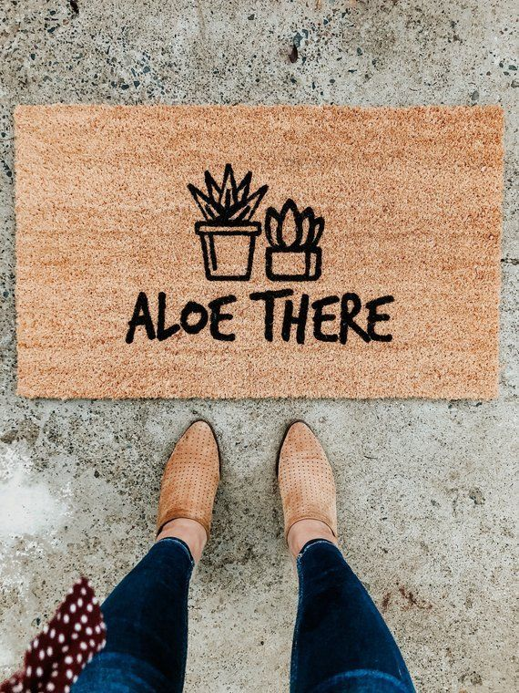 Photo of Aloe Plant Doormat   Succulent   Pun Doormat   Funny Decor   Punny Decor   Welcome Mat   Gardening Decor  Aloe There I Housewarming Gift