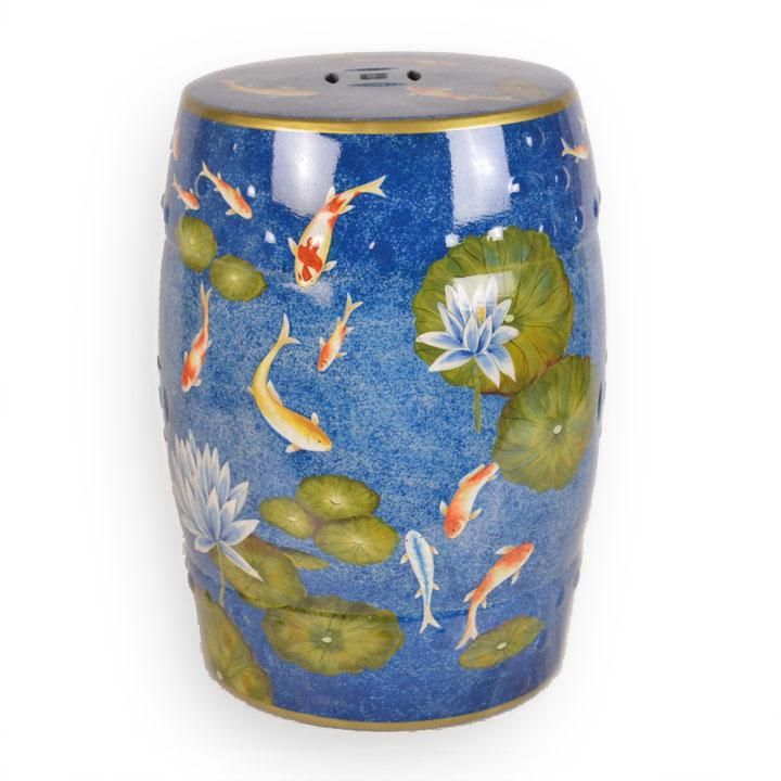 Ceramic Stool With Koi In 2020 Ceramic Stool Ceramic