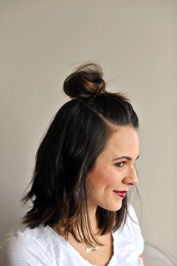 54 Hairstyle Bun On Top Of Head With Hair Down Charming Style In 2020 Hair Lengths Top Knot Hairstyles Short Hair Bun