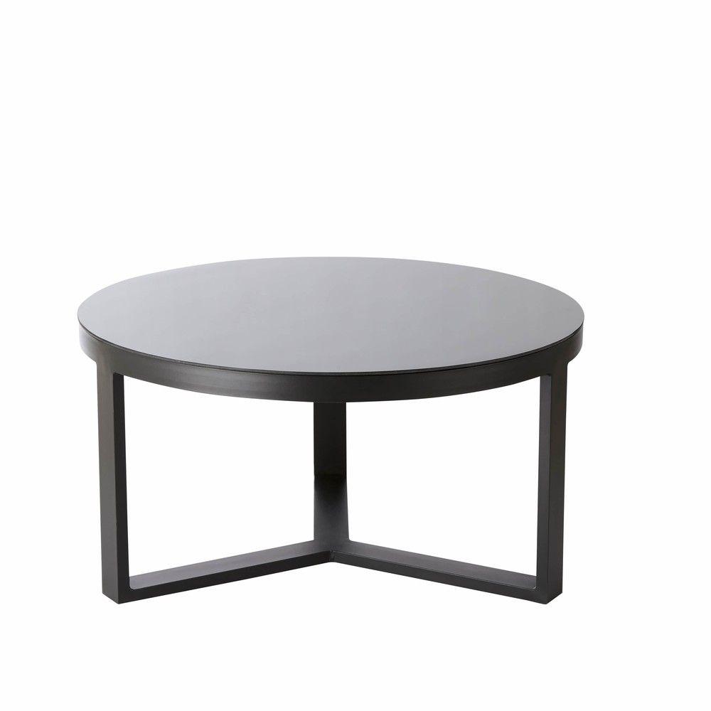 Table basse de jardin ronde en aluminium et verre trempé noir in ...