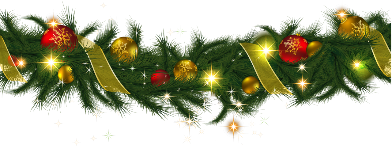 Transparent Christmas Pine Garland with Lights Clipart | stocking ...