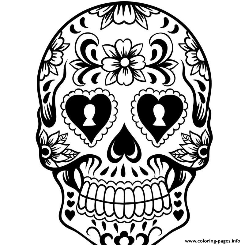 day of the dead history and free sugar skulls coloring pages