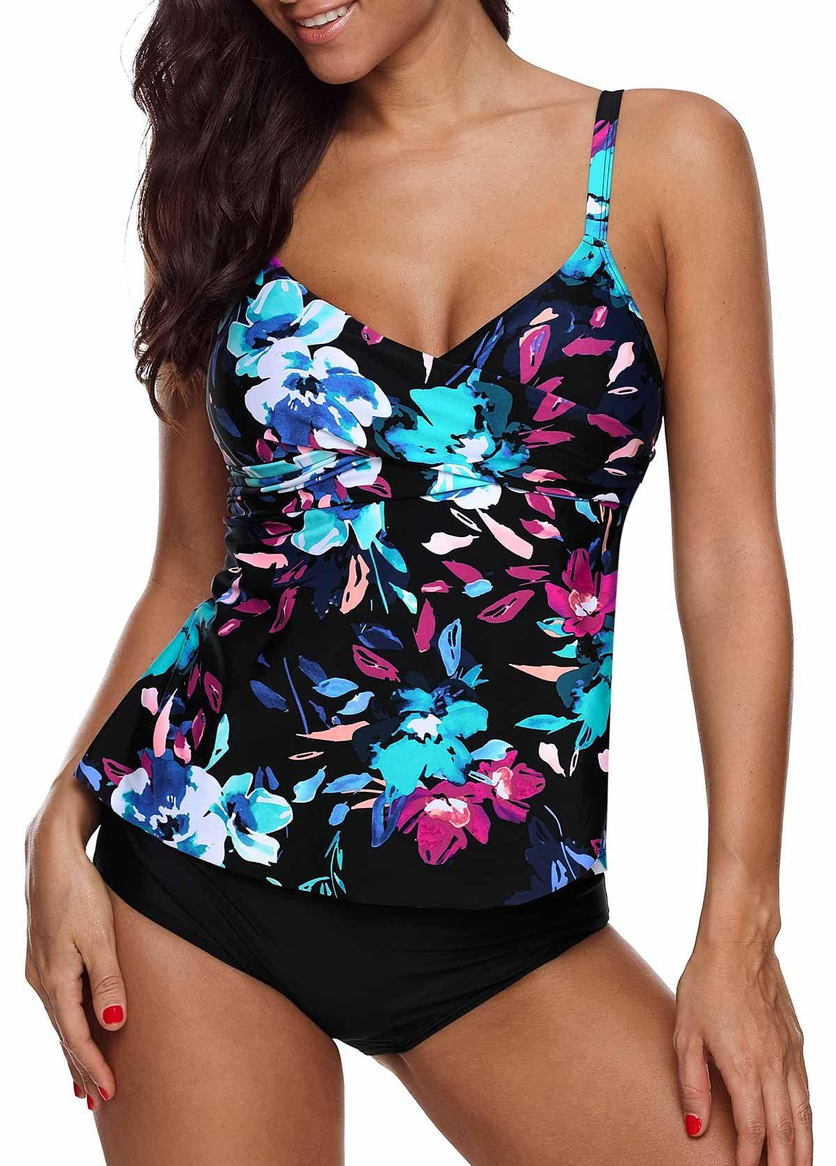 Azokoe 2019 Women Summer Bikini Leaf /& Flower Print Ruched Tankini Set Beach Swimwear