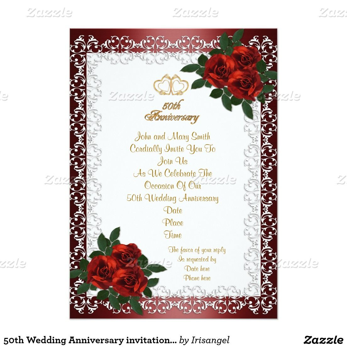 50th wedding anniversary invitation red roses 5 x 7 invitation 50th wedding anniversary invitation red roses 5 x 7 invitation card stopboris Images