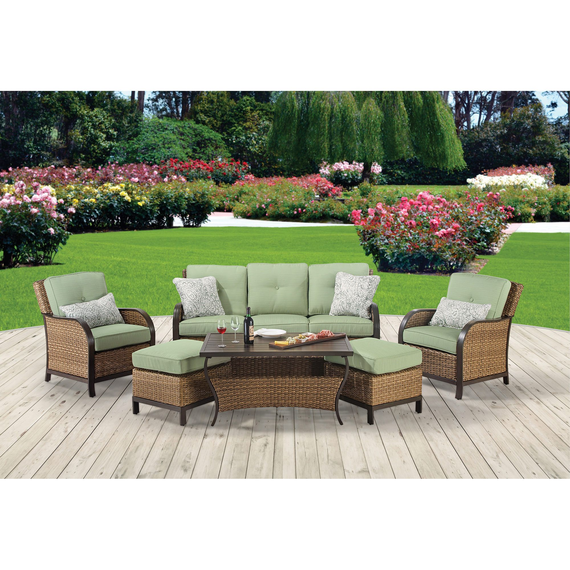 Attrayant Berkley Jensen Nantucket 6 Pc. Wicker Deep Seating Set   Dupione Aloe   BJu0027s