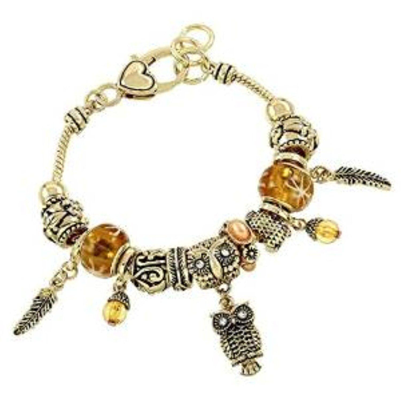 Owl Charm Bracelet Z6 Gold Murano Glass Beads Crystal Gold Tone >>> Click  Image