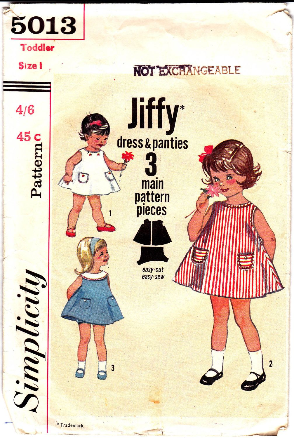 60s Vintage Toddler Girls A Line Dress & Panties pattern Simplicity 5013