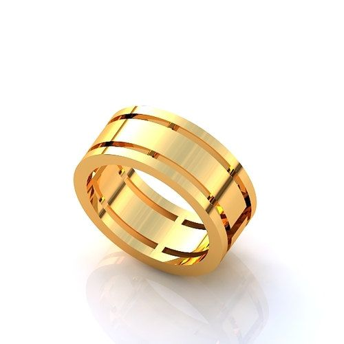 Yellow Gold Mens Band His Wedding Ring Wide Solid