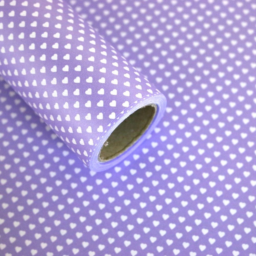 """Roll Gift Wrapping Paper 1Roll :  Heart Dots Purple 20.8"""" X (L) 32.8ft""""…"""