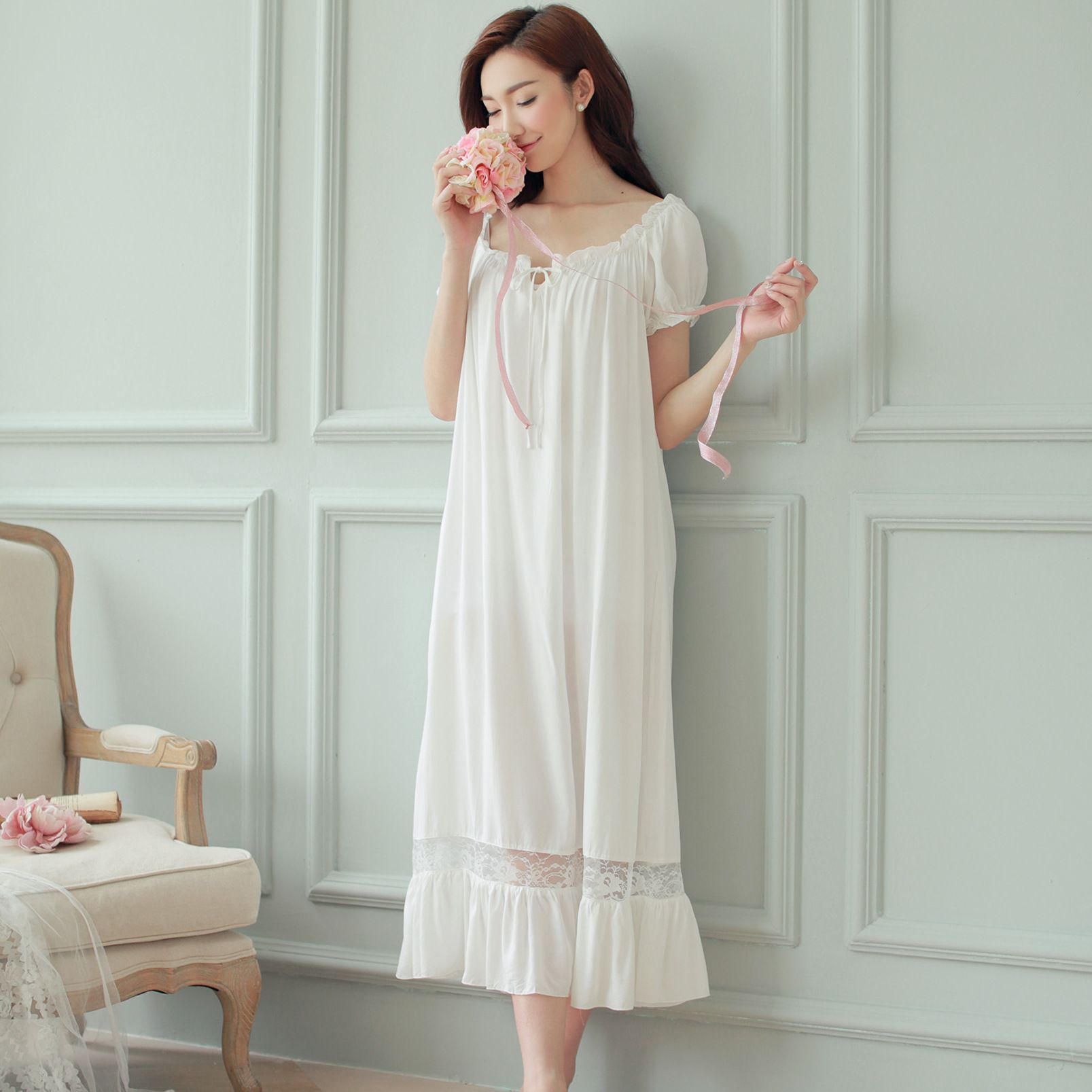 Long white nightgown for womens short sleeve summer long elegant