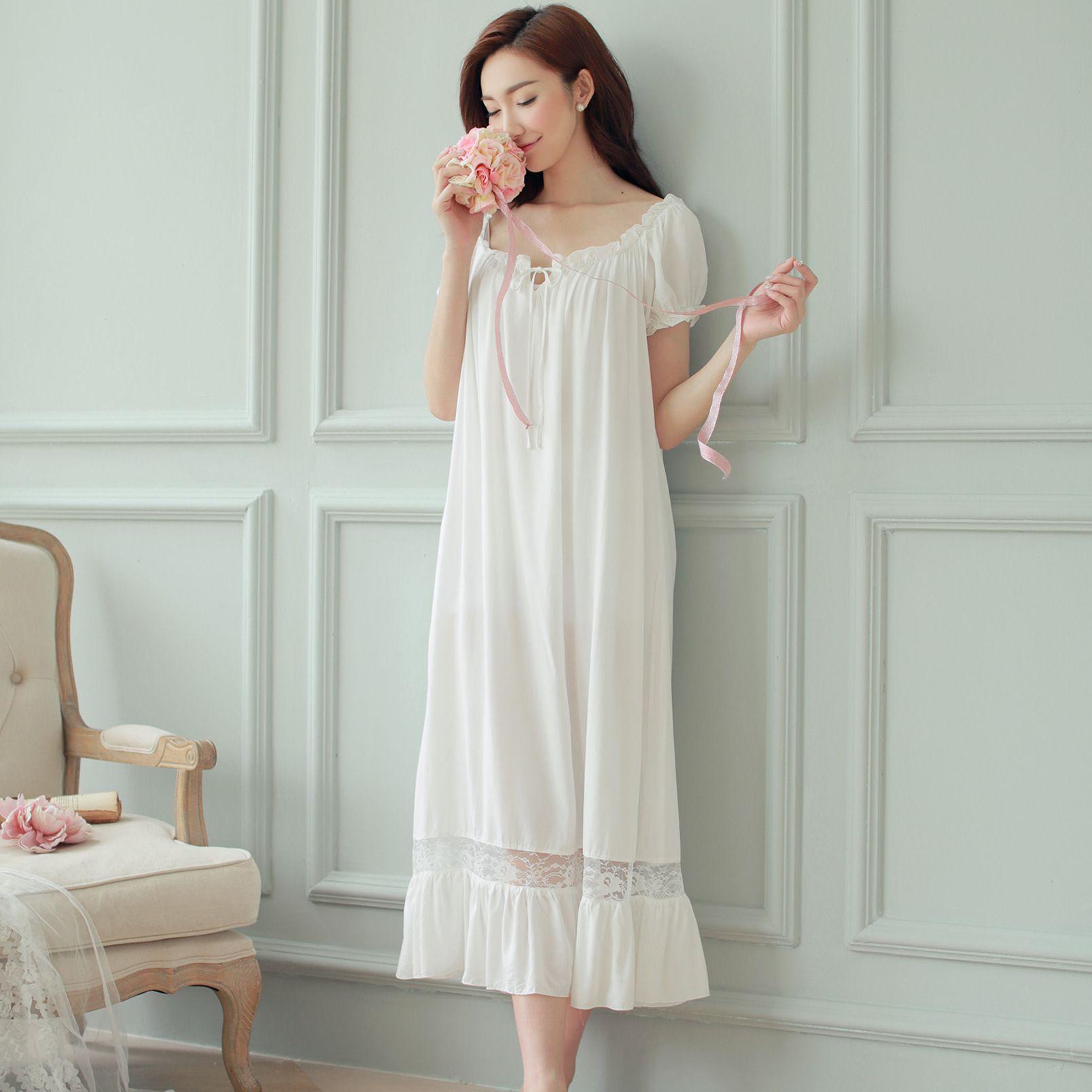 Hot Womens Long Sleeping Dress White Nightgown Short ...
