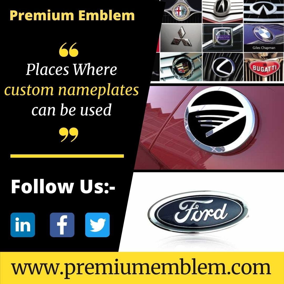 Embossed Metal Name Plates For Industries Premium Emblem In 2021 Name Plate Government Agency Emblems
