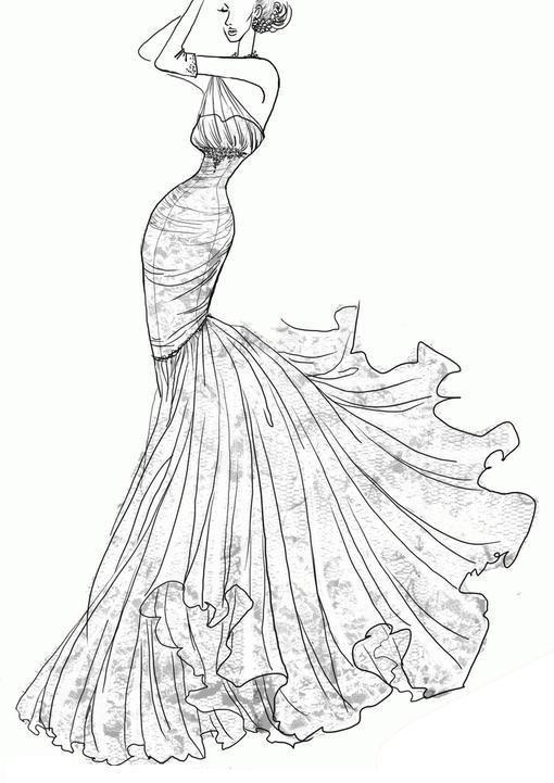 Love This Wedding Dress Sketch Desenhos Para Colorir Desenhos Moda