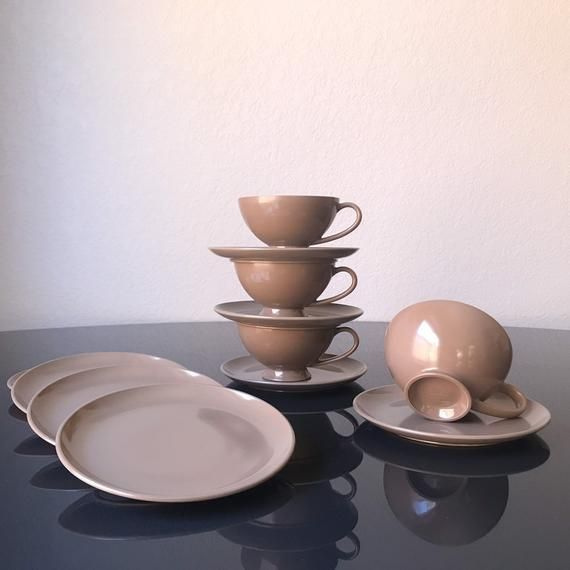 Vintage Chocolate Texas Ware Melamine Set Melmac Coffee