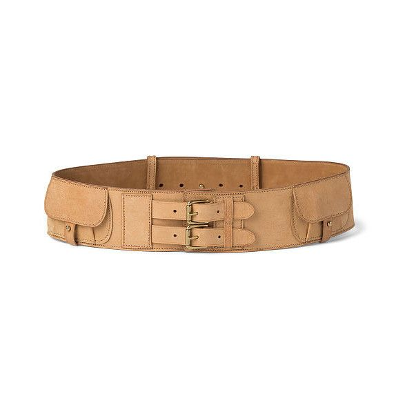 Ralph Lauren Camel Leather Two-Buckle Belt ($495) ❤ liked on Polyvore featuring accessories, belts, buckle belt, ralph lauren, wide buckle belt, engraved belts and utility belt