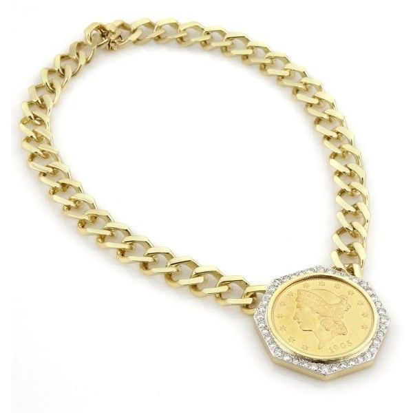 Pre owned 18k yellow gold diamond liberty coin pendant chain pre owned 18k yellow gold diamond liberty coin pendant chain necklace 9450 aloadofball Images