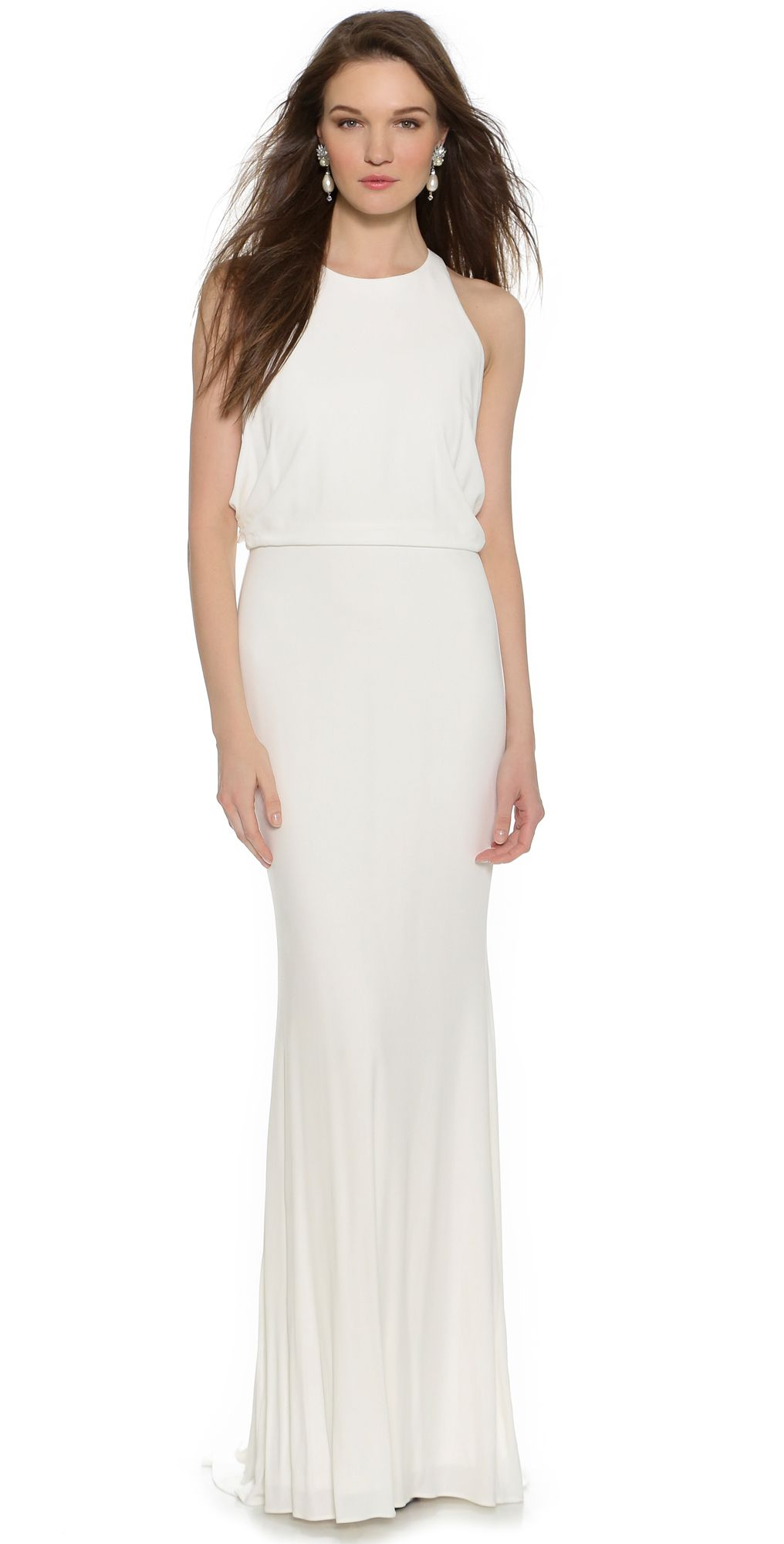 Badgley Mischka Collection Drape Back Jersey Gown   SHOPBOP