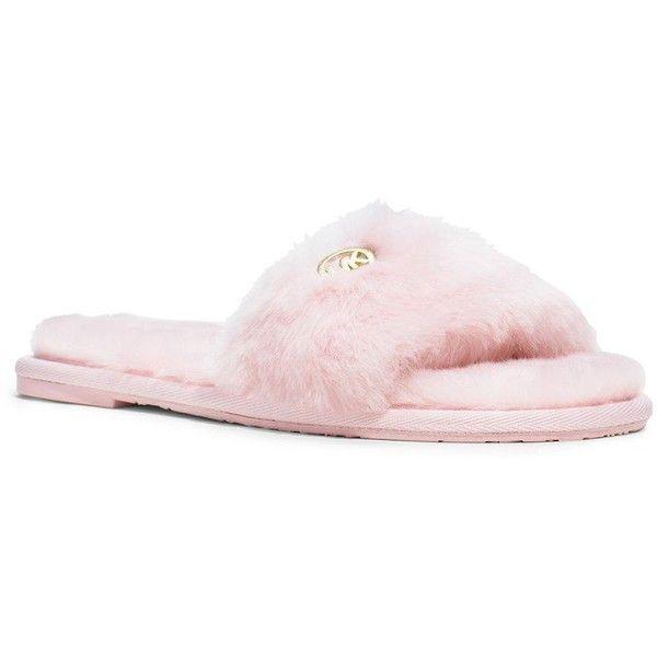 michael kors fur slippers