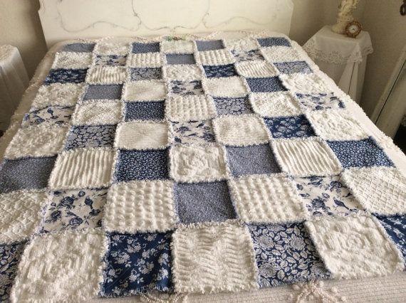 Handmade Dark Blue And White Vintage Chenille Bedspread