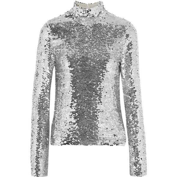 MSGM Sequined tulle turtleneck top ($675) ❤ liked on