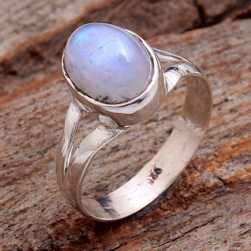 Natural Rainbow Moonstone Gemstone Solid 925 Sterling Silver Ring Jewelry New Handmade Designer Ring Oval Shape Gemstone Ring Birthday Ring