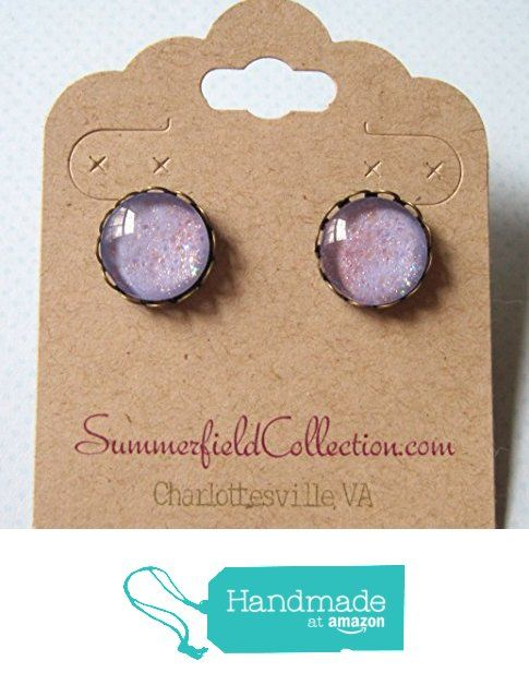 "Antiqued Gold-Tone Glitter Glass Stud Earrings 1/2"" Lilac Purple Iridescent from Summerfield Collection http://www.amazon.com/dp/B01ADTG9OS/ref=hnd_sw_r_pi_dp_DXtLwb1S434RN #handmadeatamazon"
