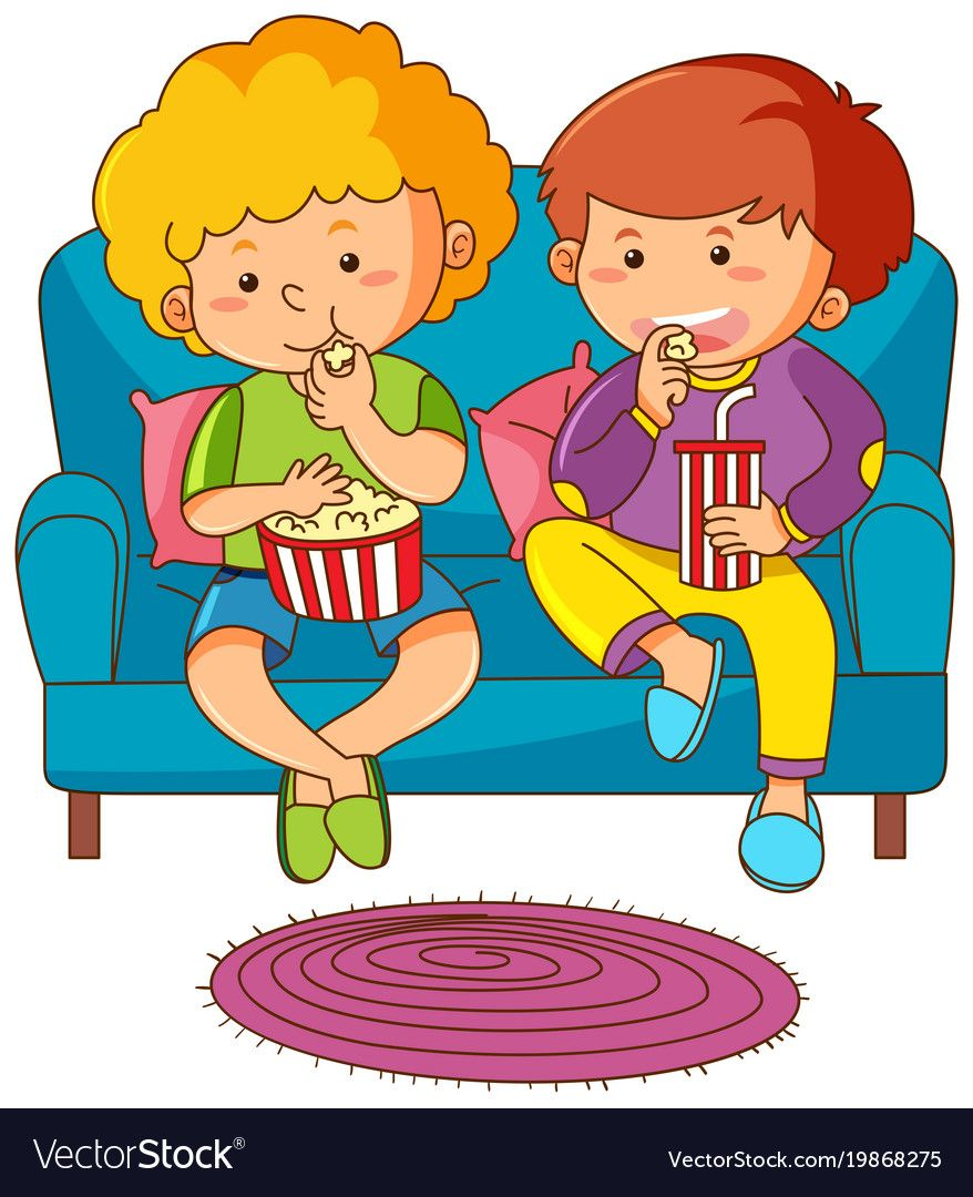 Two boys eating snack and drinking soda on sofa vector ... (878 x 1080 Pixel)