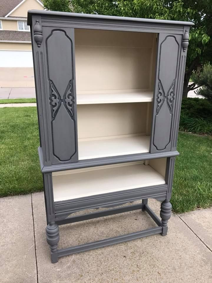 This Antique Piece Was Painted In Hurricane Grey Mineral Chalk Paint Exterior And Drop Cloth Gray Painted Furniture White Painted Furniture Gorgeous Furniture
