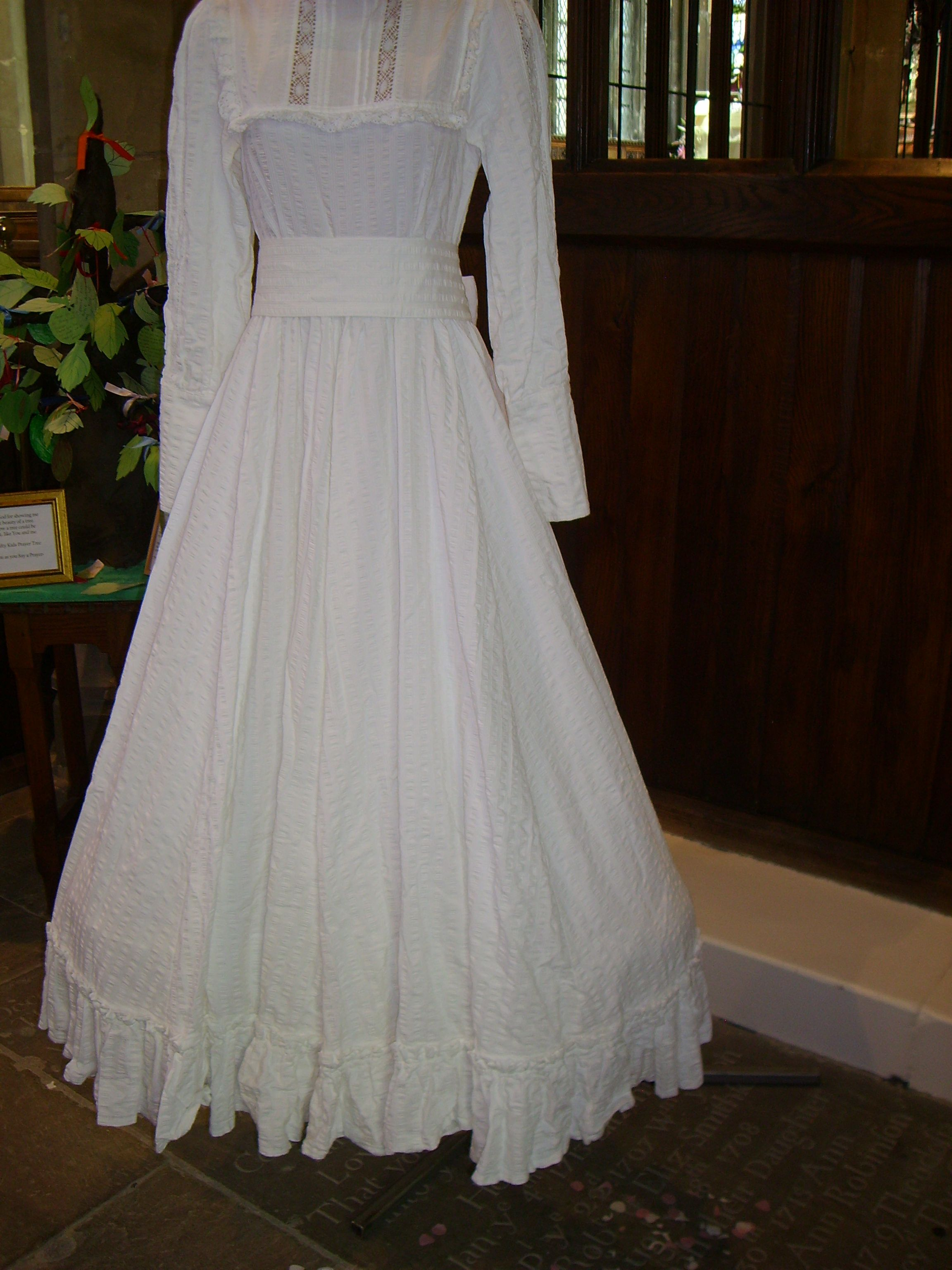 Laura Ashley Vintage Ribbon Color Wedding Dress Moiré Taffeta Lace