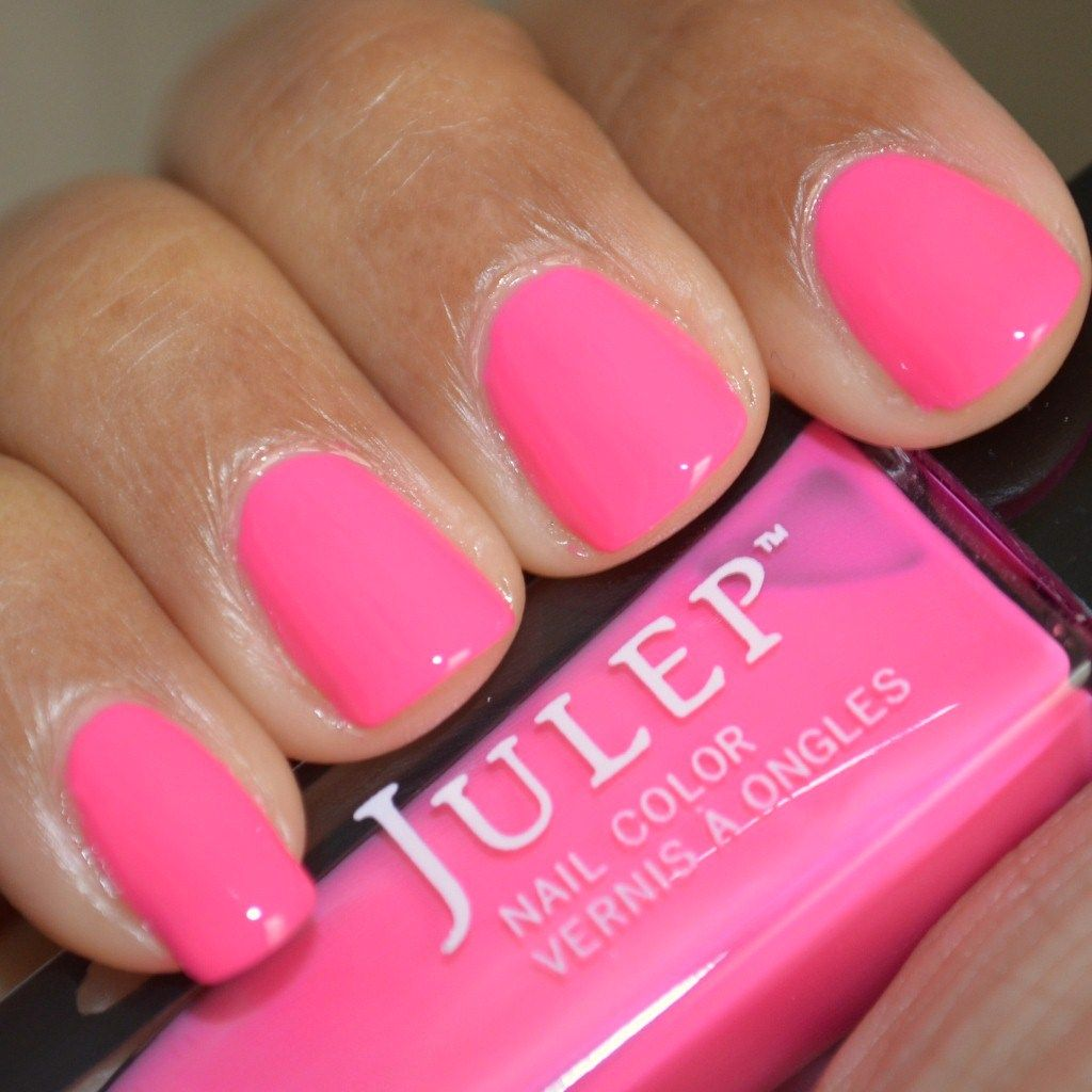 Swatch Of Julep Nail Polish Avery, Bright Pink