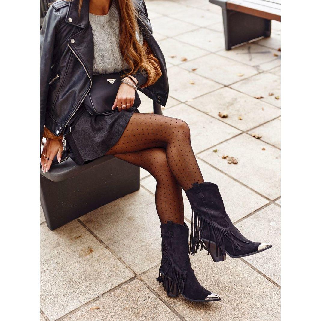 Botki Damskie Z Fredzlami Zamszowe Kowbojki Czarne Jessica Fashion Skirts Leather Skirt