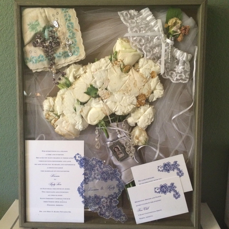 My wedding shadow box: veil, grandmother hankie ...