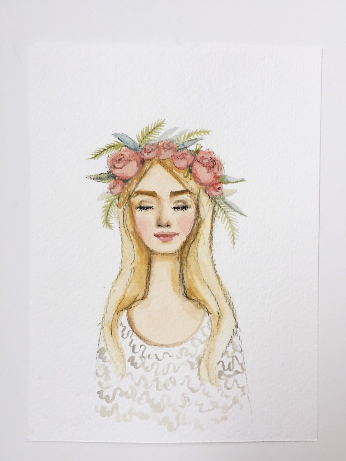 Print Of Flower Crown Girl Original Watercolor Painting Pink Lips