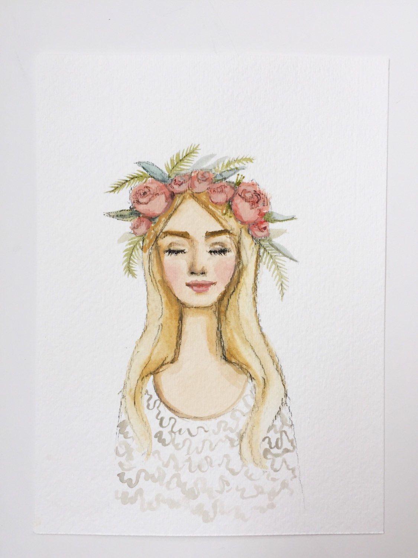32a410422da Original flower crown lady watercolor. Blonde by OliveTwigStudio ...