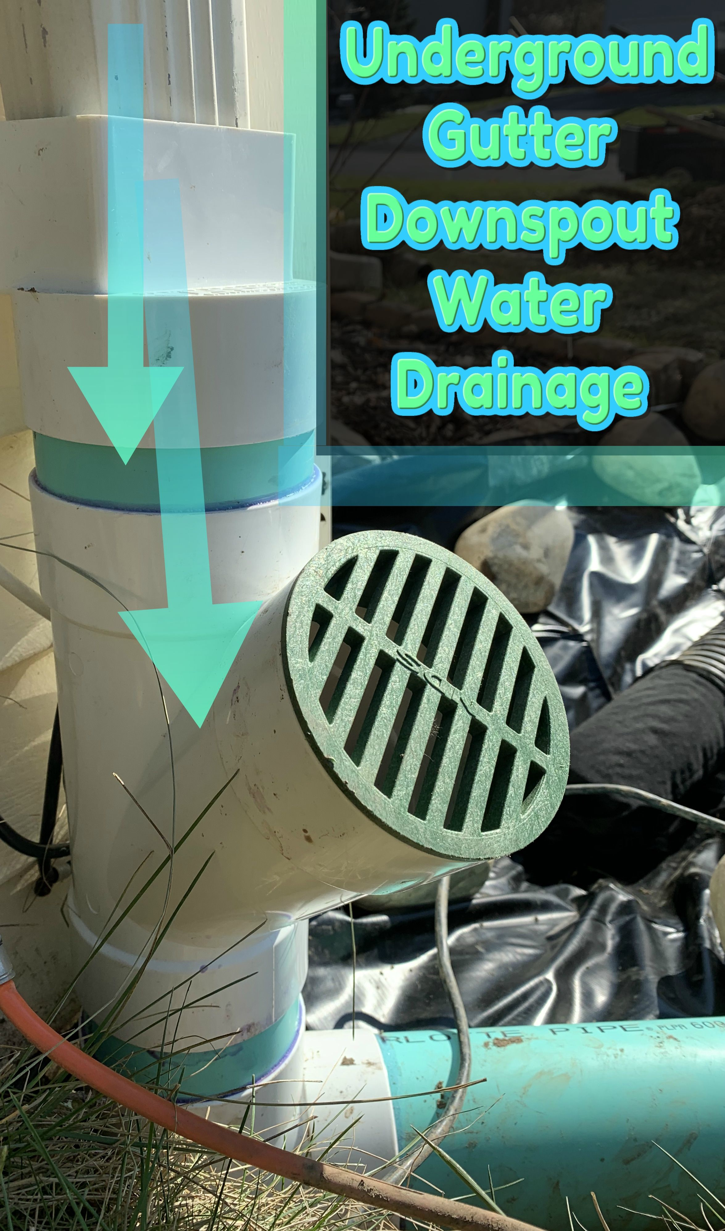 Underground Gutter Downspout Drainage System Installation Draining Roof Water Away From Foundation Downspout Drainage Drainage Drainage Solutions