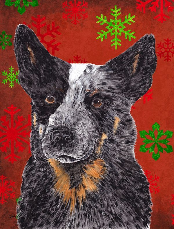 Australian Cattle Dog Red Green Snowflakes Holiday Christmas Flag House Size