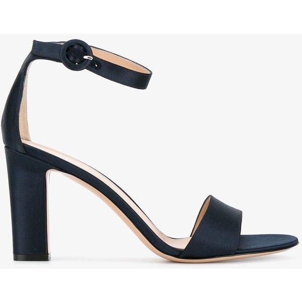 Gianvito Rossi Versilia Block Heel Sandals 640 Liked On Polyvore Featuring Shoes Sandals Gianvito Sandals Heels Block Heels Sandal Blue Leather Sandals