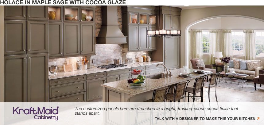 Kraftmade Holace In Maple Sage W Cocoa Glaze Home Depot Kitchen Kitchen Design Kitchen Remodel