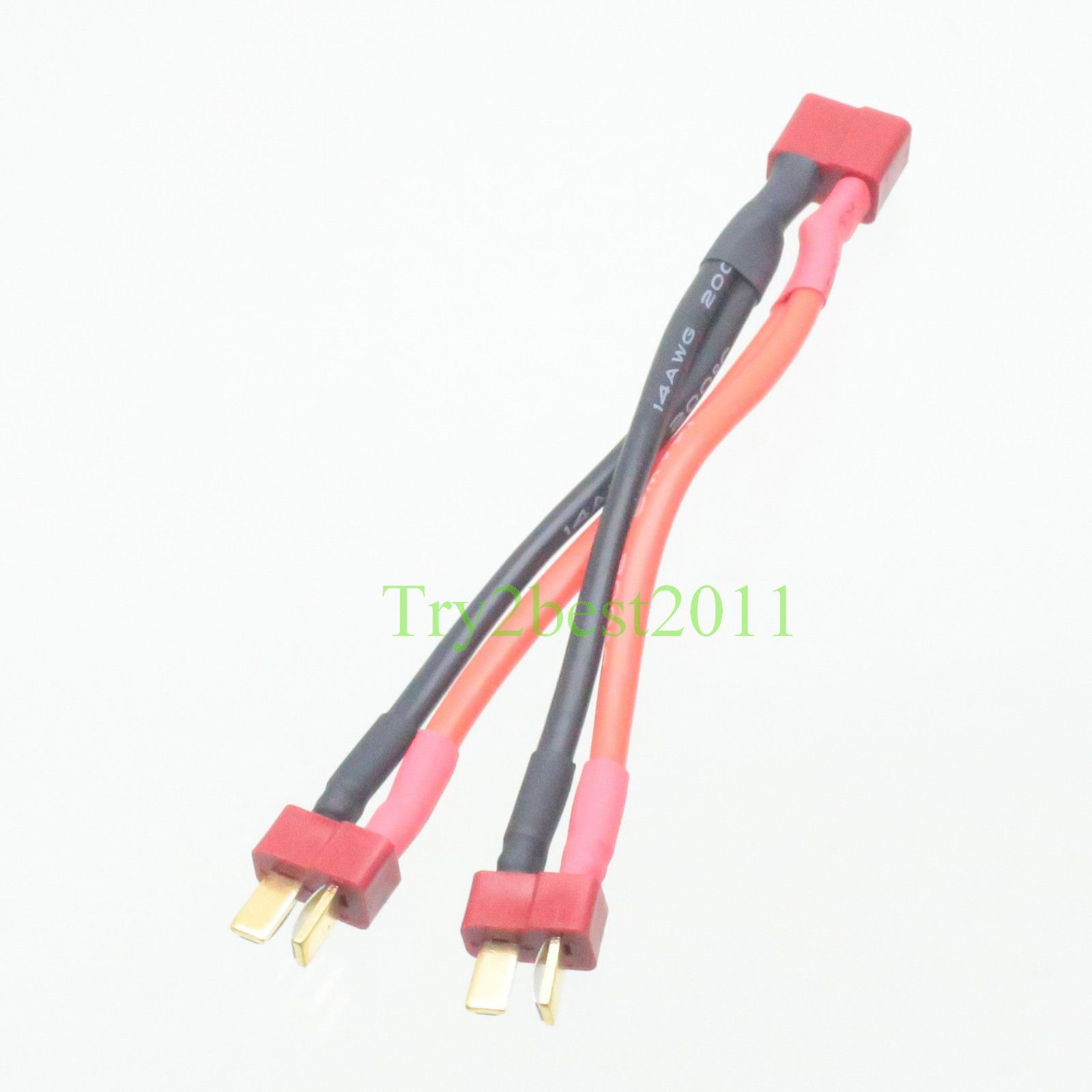 Deans Style T Plug Parallel Y Harness Two Male One Female Lipo Rc Wire 3