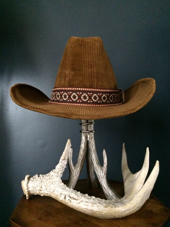 e2778dea8 Vintage Cowboy Hat, BEE Custom Made Hats, Grizzly Brown Corduroy ...