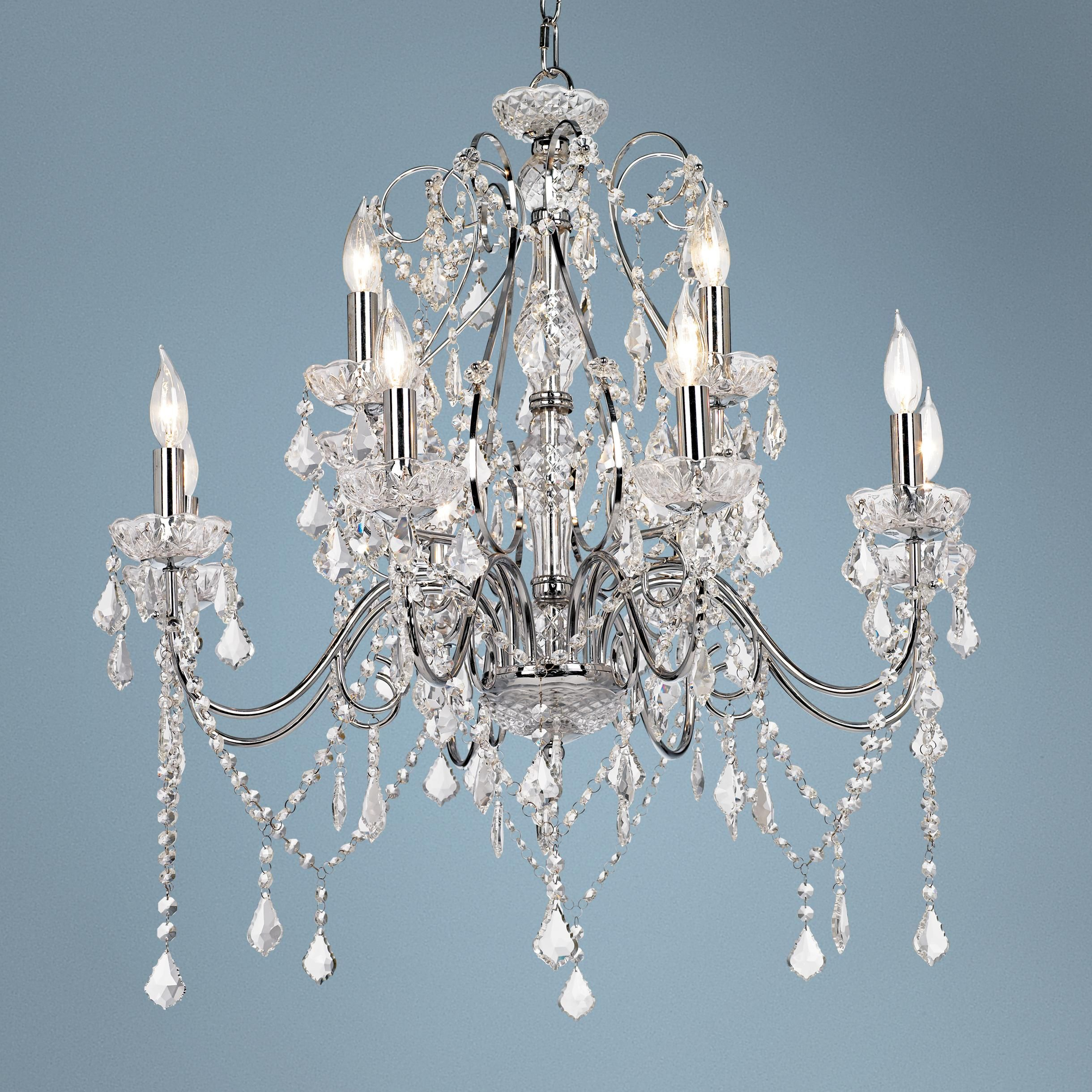 """Grace 30"""" Wide Chrome And Crystal 12-Light Chandelier"""