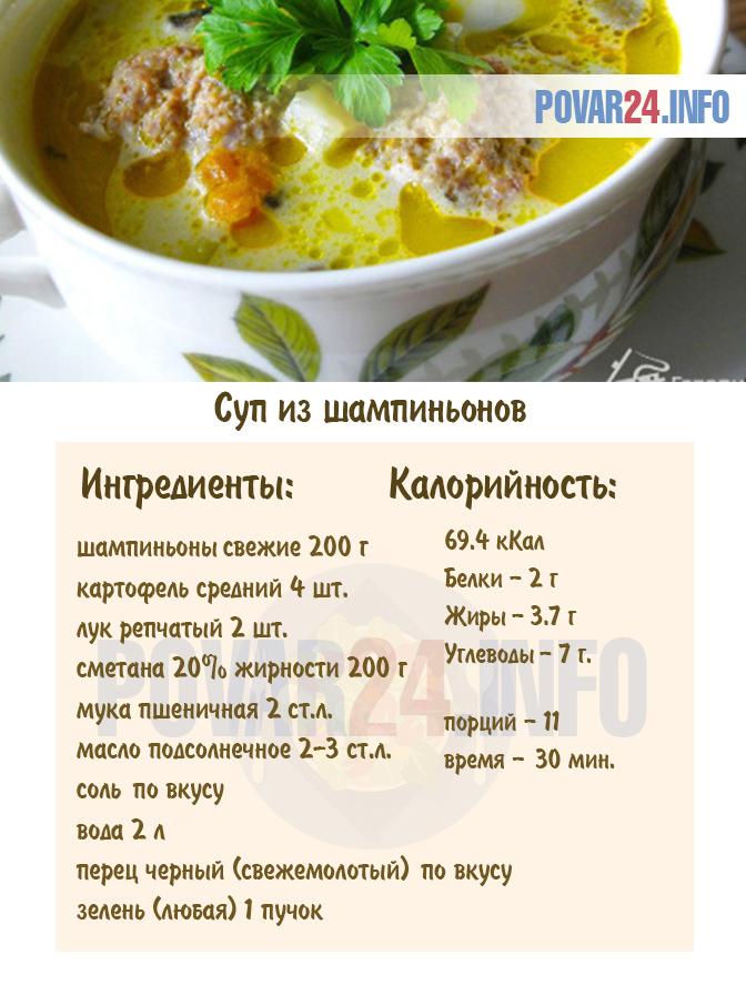 Грибной суп из шампиньонов - классический рецепт с фото ...