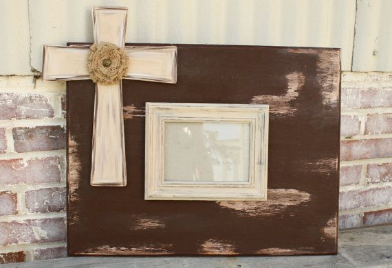 Distressed Wooden Cross Picture Frame on Etsy, $45.00 | My Creations ...